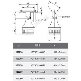 Handlaufträger für Geländerpfosten, Trägerplatte mit Gelenk für Handlauf, V2A Edelstahl geschliffen