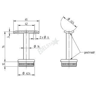 Handlaufträger für Geländerpfosten, mit Trägerplatte für Handlauf, V2A Edelstahl geschliffen