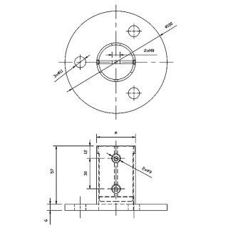 Bodenanker, V2A Edelstahl roh, für Geländer-Pfosten, mit Klemmfunktion