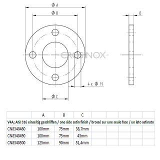 Ronde mit 4 Außenbohrungen und Mittelbohrung, Materialstärke 8 mm, V4A Edelstahl geschliffen