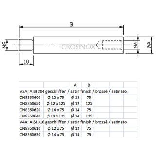 Verbindungsstift für Handlaufträger, 1 Innengewinde, 1 Außengewinde, Edelstahl geschliffen