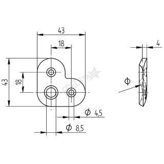 Trägerplatte Ecke für Rundrohr Handläufe, V2A Edelstahl geschliffen
