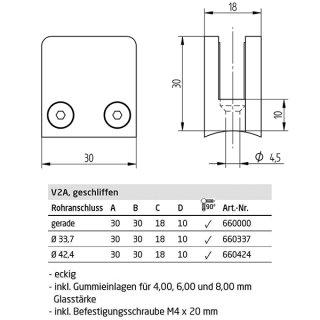 Glashalter eckig, mit Gummieinlagen, 30 x 30 mm, gerader Anschluss, für 4, 6 und 8 mm Glas, V2A Edelstahl geschliffen