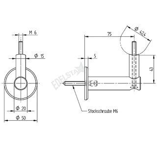Handlaufhalter für Wandmontage, mit Stockschraube, flache Ronde, Anschluss für Ø 42,4 mm, V2A Edelstahl geschliffen