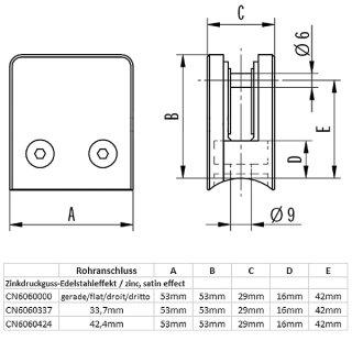 Glashalter eckig mit Gummieinlagen & Sicherungsstift, 53 x 53 mm, Zinkdruckguss Edelstahloptik