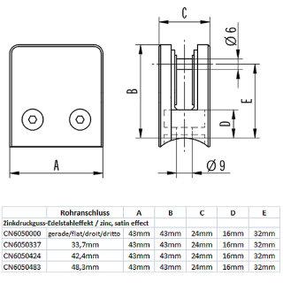 Glashalter eckig mit Gummieinlagen & Sicherungsstift, 43 x 43 mm, Zinkdruckguss Edelstahloptik
