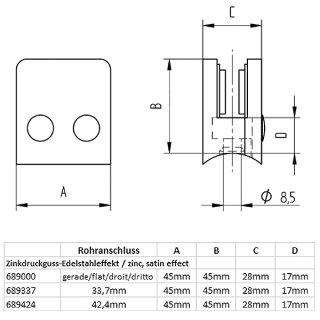 Glashalter halbrund mit Sicherungsstift & Gummieinlagen, 40 x 50 mm, Zinkdruckguss Edelstahloptik