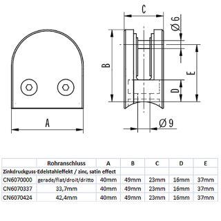 Glashalter halbrund mit Sicherungsstift & Gummieinlagen, 40 x 49 mm, Zinkdruckguss Edelstahloptik