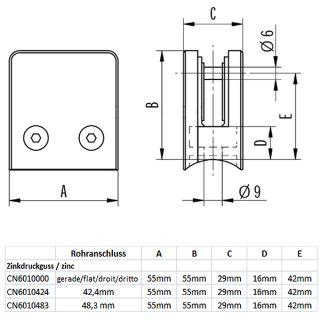 Glashalter eckig mit Sicherungsstift & Gummieinlagen, 55 x 55 mm, Zinkdruckguss roh/unbehandelt