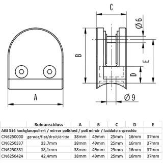 Glashalter halbrund mit Sicherungsstift & Gummieinlagen, 38 x 49 mm, V4A Edelstahl hochglanzpoliert