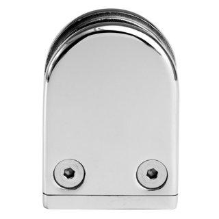 Glashalter halbrund mit Sicherungsstift & Gummieinlagen, 43 x 59 mm, V4A Edelstahl hochglanzpoliert