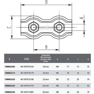 Duplex Clip für Drahtseilgeländer, V4A Edelstahl