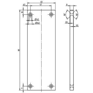 Endkappe asymetrisch  Serie 20, 63 x 181 mm, Aluminium