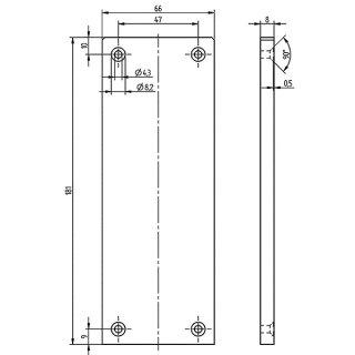 Endkappe symmetrisch  Serie 20, 66 x 181 mm, Aluminium