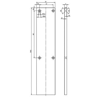 Endkappe  Serie 20, 64 x 300 mm, Aluminium