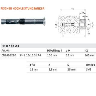Fischer Hochleistungsanker FH II SK (Senkkopf) 15/15, V4A Edelstahl, M10/15 mm