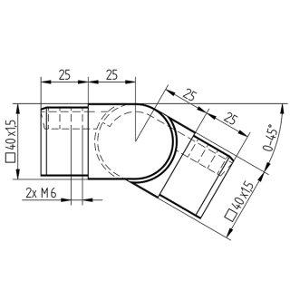 Gelenk Abgang für Vierkant-Nutrohre 40 x 40 mm, V4A Edelstahl geschliffen