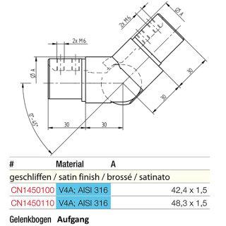 Gelenk Aufgang für runde Nutrohre, V4A Edelstahl geschliffen
