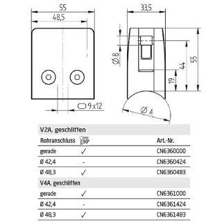 Glashalter eckig mit Sicherungsplatte, Sicherungsstift und Gummieinlagen, 55 x 55 mm, V2A Edelstahl geschliffen