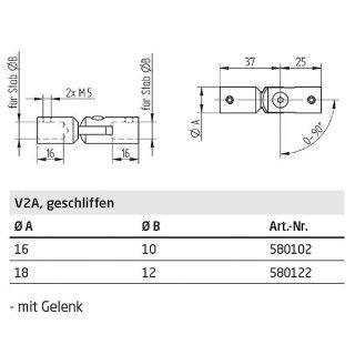 Gelenk-Verbinder für runde Füllstäbe, Edelstahl geschliffen