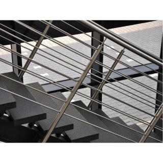 Geländerpfosten mit Bohrungen für Querstäbe, aufgesetzt, V2A Edelstahl geschliffen