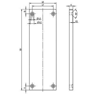 Endkappe Basis  Serie 20, 60 x 181 mm, Aluminium matt eloxiert
