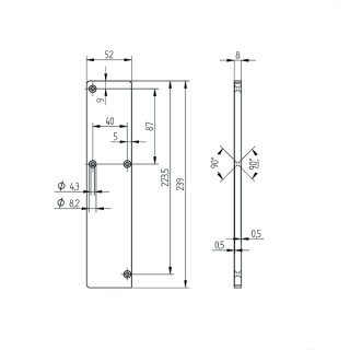 Endkappe Serie 10, für vorgesetzte Bodenprofile mit gerader Abdeckung, matt eloxiert (E6/EV1)