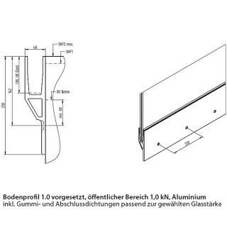 Bodenprofil 10-4, für Ganzglasgeländer, vorgesetzt, pressblank (roh), für Glas 16,76 - 17,52 mm