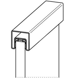 Handlauf Typ 5 mit Dichtung, Edelstahlnutrohr geschliffen, vierkant 40 x 40 mm