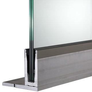 Bodenprofil 20-5, für Ganzglasgeländer, F-Form, aufgesetzt