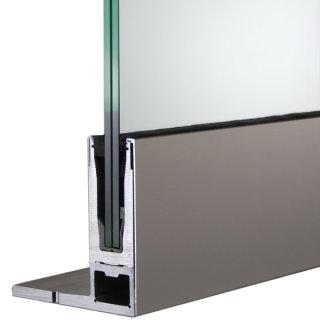 Bodenprofil 20-6, für Ganzglasgeländer, F-Form, hoch, aufgesetzt