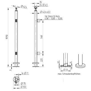 Geländerpfosten rund, mit Klemmhaltern V2A Edelstahl geschliffen, aufgesetzt, Ø 42,4 x 2 mm Endpfosten Edelstahl geschliffen