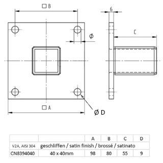 Einpressflansch für Vierkant-Pfosten 40 x 40 x 2 mm, V2A Edelstahl geschliffen