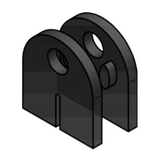 Glashalter halbrund mit Sicherungsstift & Sicherungsplatte, mit Gummieinlagen, 46 x 63 mm, Edelstahl V2A