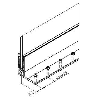 Bodenprofil 20-6 Light, für Ganzglasgeländer, F-Form, hoch, aufgesetzt pressblank (roh), für Glas 24,76 - 25,52 mm