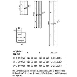 Abstandsprofil, Abstandhalter, 40 x 20 mm, Serie 20 & 20-light, für vorgesetzte Bodenprofile, Aluminium