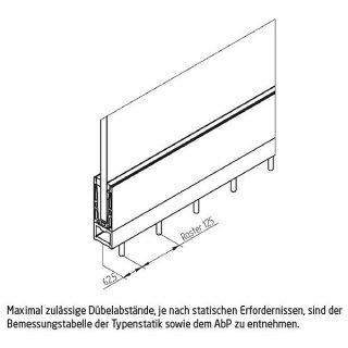 Bodenprofil 20-2 Light, für Ganzglasgeländer, hoch, aufgesetzt matt eloxiert (E6/EV1),  für Glas 24,76 - 25,52 mm