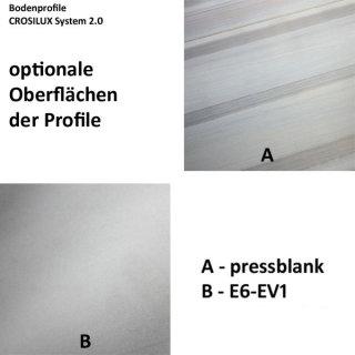 Bodenprofil 20-5 Light, für Ganzglasgeländer, F-Form, aufgesetzt matt eloxiert (E6/EV1), für Glas 20,76 - 21,52 mm