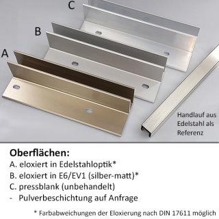 Bodenprofil 20-1 Light, für Ganzglasgeländer, aufgesetzt matt eloxiert (E6/EV1), für Glas 16,76 - 17,52 mm