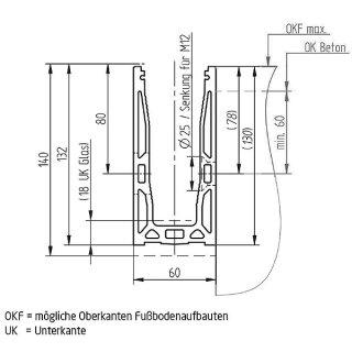 Bodenprofil 20-7 Light, für Ganzglasgeländer, vorgesetzt (Seitenmontage)