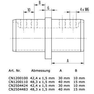 Verbinder für runde Nutrohre, V4A Edelstahl geschliffen