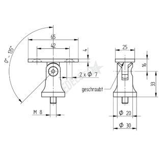 Handlaufträger für Geländerpfosten, zum Aufschrauben, mit Gelenk, aus V2A Edelstahl, gerader Anschluss