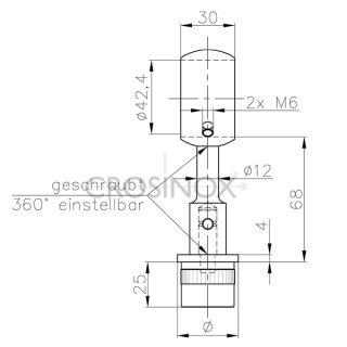 Handlaufträger für Geländerpfosten, mit Ringaufnahme, aus V4A Edelstahl
