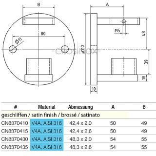 Wandanker für Geländerpfosten mit runder Anschlussplatte, V4A Edelstahl geschliffen, für Rundrohre