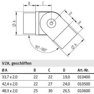 Gelenkverbinder 90 - 180° für Rundrohre Ø 42,4 x 2 mm, V2A Edelstahl geschliffen