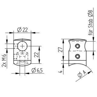 Querstabhalter, V2A Edelstahl geschliffen, für 10/12 mm Füllstäbe, gewölbter Kopf