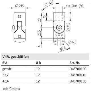 Traversenhalter für runde Füllstäbe mit Gelenk, V4A Edelstahl geschliffen