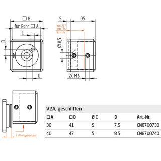 Wandflansch / Traversenhalter für Vierkantrohr, zweiteilig, V4A Edelstahl geschliffen