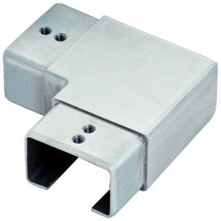 Eckverbinder für Vierkant-Nutrohre, V2A Edelstahl geschliffen, 90° horizontal