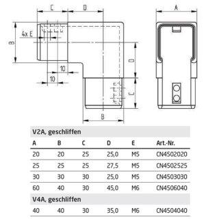 Eckverbinder für Vierkant-Nutrohre, V2A Edelstahl geschliffen, 90° vertikal